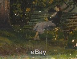 Old Oil Painting Signed Smith Landscape, Female, Park, Tree, Bench