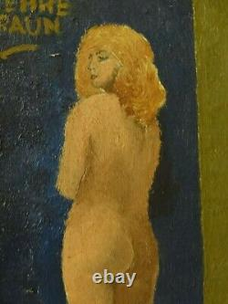 Old Painting Painting Oil Toile Portrait Art Deco Sign Braun