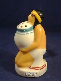 Old Salt Shaker Porcelain Egyptian Woman Henri Delcourt Boulogne Art Deco