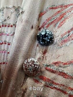 Old Textile Costume Old Dress Art Deco Years Crazy Silk Embroidered Chanel Beads