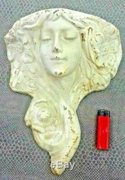 Old Vase Door Bouquet Wall Art-nouveau Female Head Cast Iron