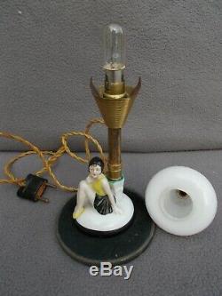 Old Woman Pilot Bather Art Deco Lamp 1930 Porcelain Statuette