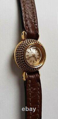 Omega Lady Watch In 18k Gold Around 1955-backwind-duoplan-chameleon-art Deco-vintage
