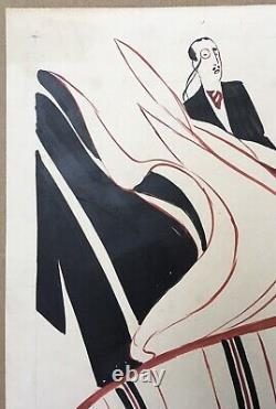 Original Art Deco Drawing Aristides Rechain Argentinian Woman Elegant Tango Dance