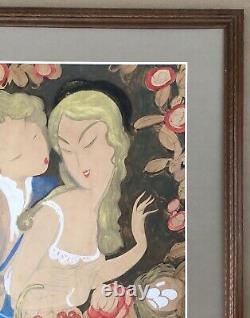 Original Art Deco Drawing Eduardo Garcia Benito Scene Galante Woman Flowers