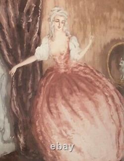 Original Art Deco Engraving Charles Naillod Stage Galante Erotic Woman Amant Dog 30/380