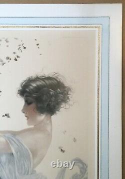 Original Engraving Aquatinte Maurice Millière Portrait Woman Swing Autumn
