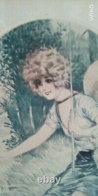 Original Engraving Maurice Milliere Early 20th Jeune Women Dragonfly