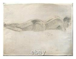 Original Old Drawing By Jean Puy (1876-1960) Woman, Naked, Lying