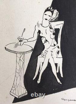 Original Portrait Portrait Elegant Woman Cocktail Art Deco 1928