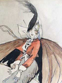 Original Watercolor Art Deco Portrait Elegant Umbrella Wind Mariani