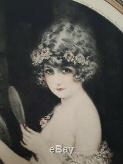 Oval Lithograph Art Deco In 1930 Signed Maurice Millière Small Mirror Women