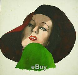 P Clouët Portrait Of Woman In Hat C1930 Art Deco Original Watercolor Drawing