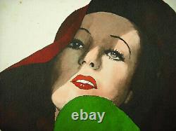 P Clouët Portrait Of Woman With Hat C1930 Art-deco Original Watercolor Drawing