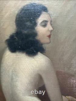 Painting Art Deco Model Woman Nude Painting Signed Jean Jannel 1894