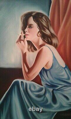 Painting Oil/toile Young Woman Cigarette-thinking Signed Privat. Xxth