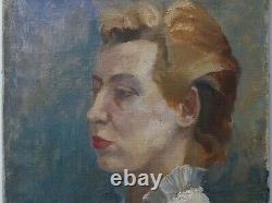 Painting Painting Portrait Of Woman In White Blouse Oil On Canvas, Vintage