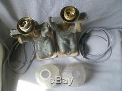 Pair Of Art Deco Lamp P. Sega 1930 Sculpture Woman Vintage Statue Figural Lamp