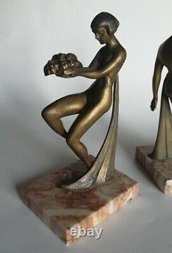 Pair Of Greenhouse Books Former Nude Women Art-deco Signed Limousin Patinated Metal