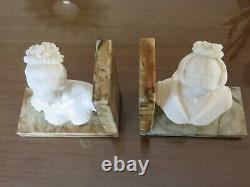 Pair Of Serre Books Bust Woman In Marble Art Deco Vintage