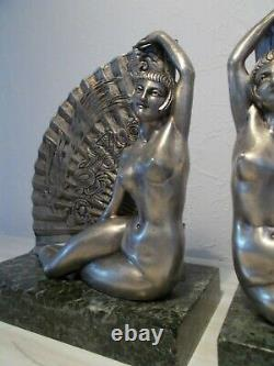 Pair Of Silver Bronze Sculpture Art Deco Statuette At The Herhy