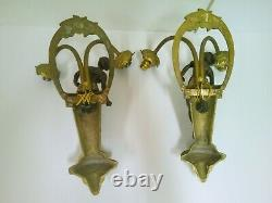 Pair Wall Wall Double Mount Bronze Women In Relief 4 Lumieres