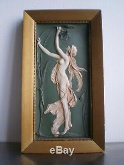 Panel New Ceramic Art Deco Decor Woman Flower Biscuit 1900 St Wedgwood