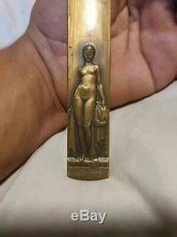 Paper Cup Bronze Signed P. Turin Art Deco Naked Woman Erotic Bathrobe