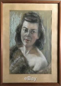 Pastel Portrait Young Woman With Fur Erotic Um 1940 Art Deco 63