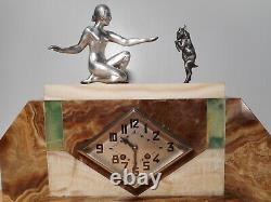Pendule Art Deco Marble Sculpture Statue Woman Naked Female Goat Cabri Regulates