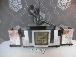 Pendule Art Deco Young Woman With Full Tambourine & In Working Condition