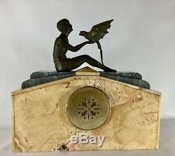 Pendulum Art Deco 1930 Casserole Fexacta Metra Cherbourg Female Parrot Z114