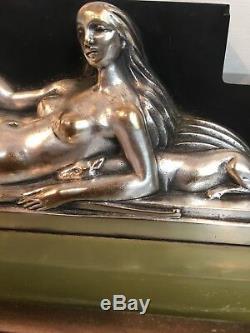 Pendulum Art Deco Mounted Dune Sculpture Silver Bronze Woman With Greyhounds