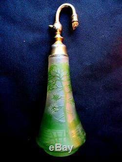 Perfume Bottle Atomizer Art Nouveau, Art Deco, Clear Glass Paste With Acid