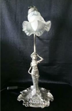 Pewter Lamp Art Deco Model Woman