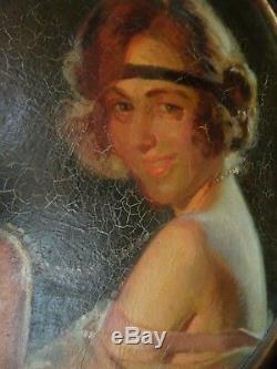 Pierre Bonnaud 1865/1930 Portrait Woman / Art Deco / Oil