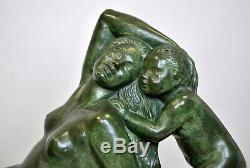 Pierre De St Andre, Large Bronze Woman And Child, Signed, Xxth Century