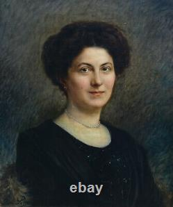 Pierre Petit Portrait Of Mrs. Maudet Hst Era Art Deco