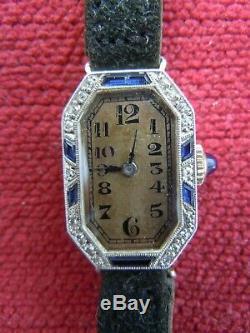 Platinum Gold Diamond Diamond Sapphire Diamond Platinium Lady Lady Watch Art Deco Watch