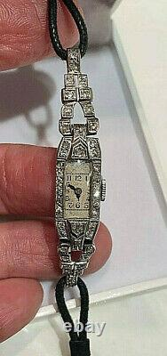 Platinum Watch Diamonds 1920's Antique Diamond & Platinium Art Deco Ladies Watch