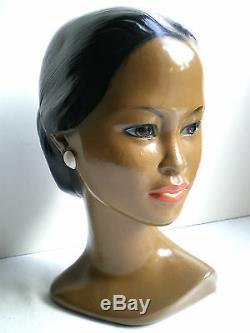Polynesian Bust, Painted Plaster Statue, Vintage Sculpture Tahitian Woman