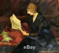 Portrait Of A Woman Reading Oil / Canvas Early 20th Century Art Deco