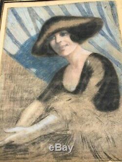 Portrait Of Woman Art Deco Circa 1930 Table Nabis Fashion Paul Poiret