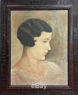 Portrait Of Woman. Oil On Canvas. Illegible Signature. Spain. 1930-1940