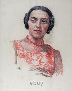 Portrait Of Young Woman With Circa Necklace 1930 Pastel Art Deco Monogram Mode