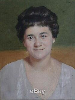 Portrait Realistic Woman Art Deco Signed Marcel Baschet Great Portrait Pastel
