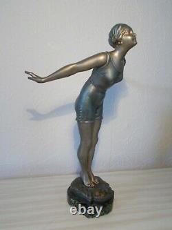 Pretty Sculpture Art Deco 1930 Statue Woman Bather 36cm Old Statuette