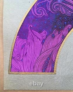 Project Art Deco Fan Hand Painted Fabric Women Flowers Luis Dubon Valencia