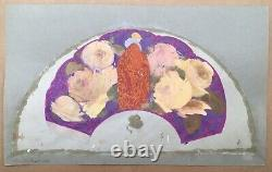 Project Fan Art Deco Painted Hand Fabric Women Roses Vicente Ballester Valencia