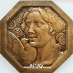 R2011 Very Rare Fonte Medal Uniface Art Deco Women Flowers Colombe Morlon Sup